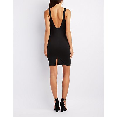 Barbell Open Back Bodycon Dress