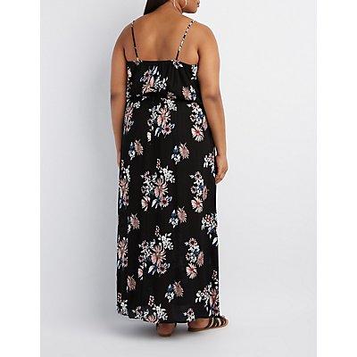 Plus Size Floral Surplice Maxi Dress