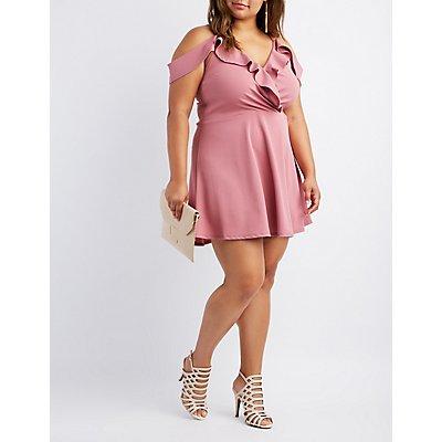 Plus Size Ruffle Cold Shoulder Skater Dress