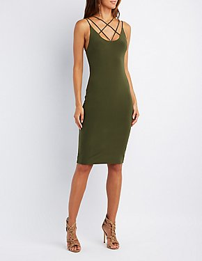 Strappy Lattice Bodycon Dress