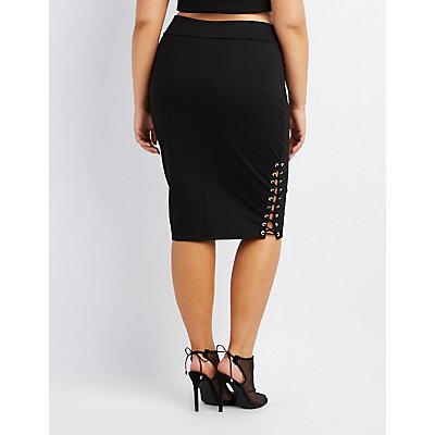 Plus Size Lace-Up Bodycon Midi Skirt