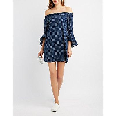 Polka Dot Off-The-Shoulder Shift Dress