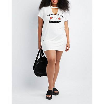Plus Size Property of Nobody Graphic Shirt Dress