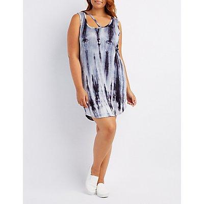 Plus Size Tie Dye Cut-Out Swing Dress
