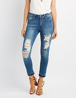 Machine Jeans Released Hem Destroyed Skinny Jeans