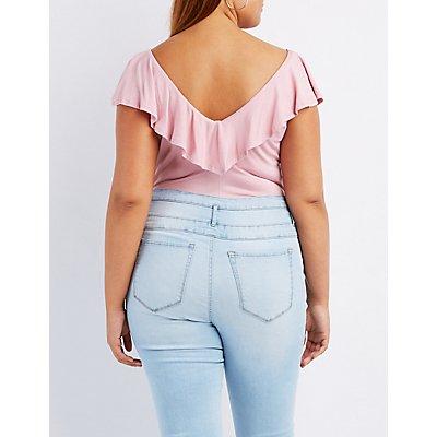 Plus Size Lattice-Front Ruffle-Trim Bodysuit