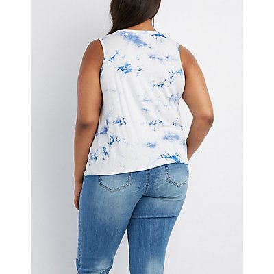Plus Size Graphic Mineral Wash Tank Top