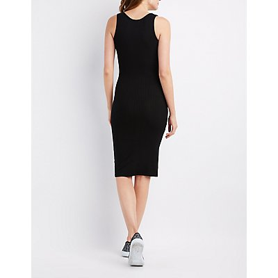 Ribbed Snap-Front Midi Dress