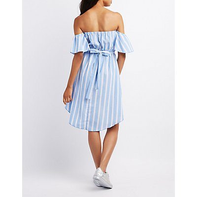 Striped Off-The-Shoulder High-Low Dress