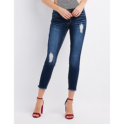 Frayed Hem Destroyed Skinny Jeans