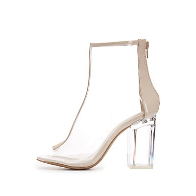 Clear Peep Toe Lucite Heel Booties