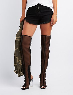 Mesh Lucite Heel Thigh-High Boots