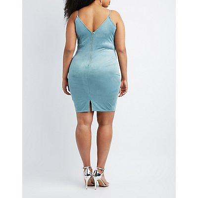 Plus Size Faux Suede Bodycon Dress