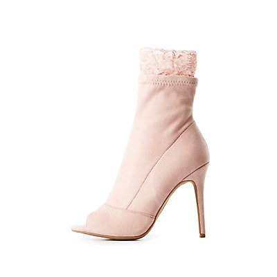Bamboo Lace-Trim Peep Toe Booties