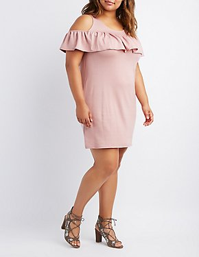 Plus Size Ruffle-Trim Cold Shoulder Dress