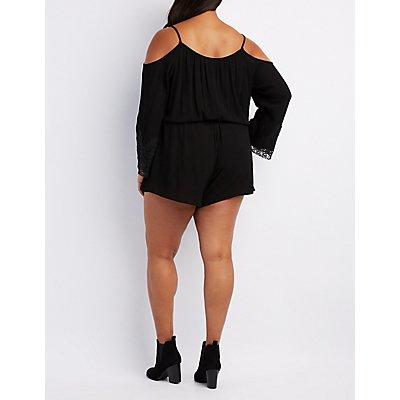 Plus Size Crochet-Trim Cold Shoulder Romper