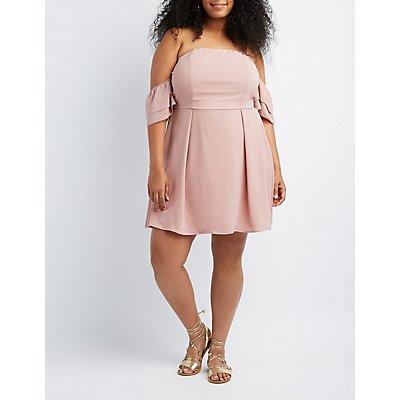 Plus Size Off-The-Shoulder Skater Dress