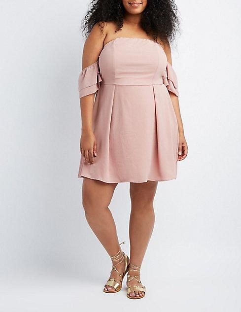 Plus Size Off The Shoulder Skater Dress Charlotte Russe