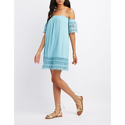 Crochet-Trim Off-The-Shoulder Dress