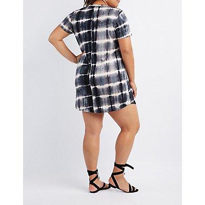 Plus Size Tie Dye Lace-Up T-Shirt Dress