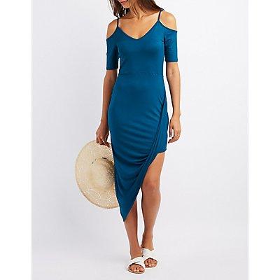 Cold Shoulder Asymmetrical Maxi Dress
