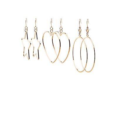 Shaped Hoop Earrings - 3 Pack