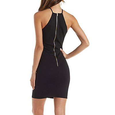 Scalloped Bib Neck Bodycon Dress