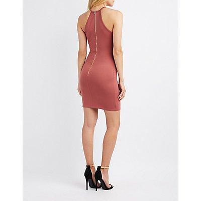 Scalloped Bib Neck Bodycon Dress