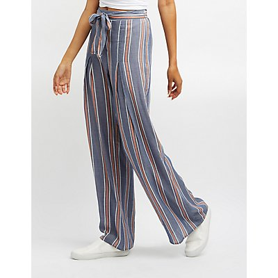 Striped Tie-Front Palazzo Pants