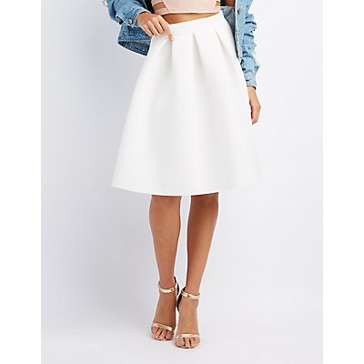 Full Pleated Scuba Skirt
