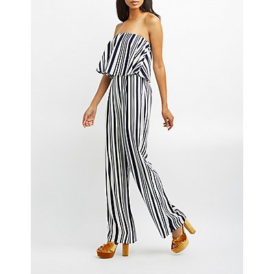 Striped Strapless Tiered Jumpsuit