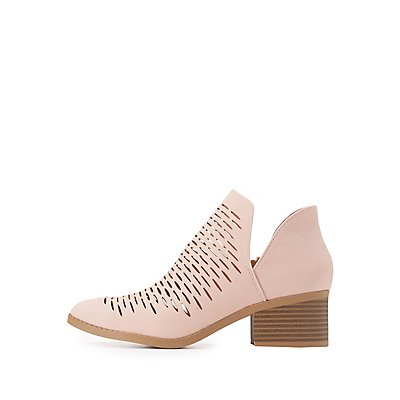 Laser Cut Pointed Toe Ankle Booties