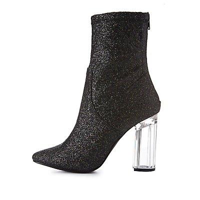 Glitter Lucite Heel Booties