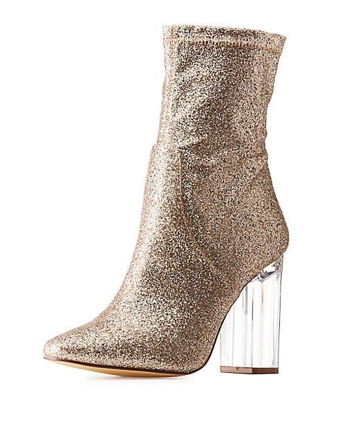 Glitter Lucite Heel Booties  Glitter Lucite Heel Booties