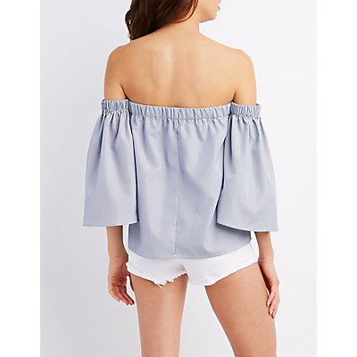 Pinstripe Off-The-Shoulder Bell Sleeve Top