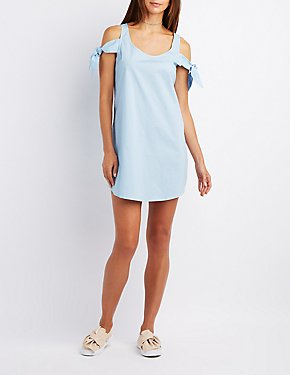 Poplin Tied Cold Shoulder Dress