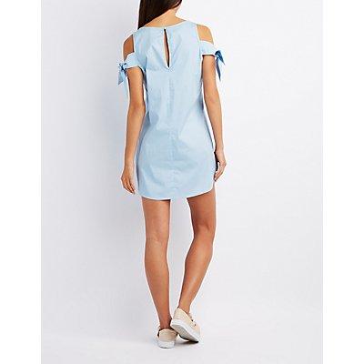 Poplin Tied Cold Shoulder Dress