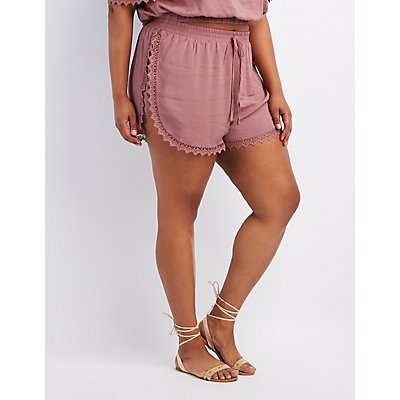 Plus Size Crochet-Trim Dolphin Shorts