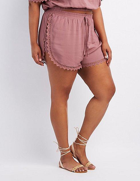 df736077127 Plus Size Crochet-Trim Dolphin Shorts