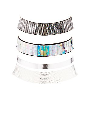Holographic & Woven Choker Necklaces - 3 Pack