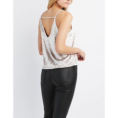 Velvet Open Back Tank Top