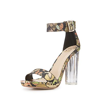 Brocade Two-Piece Lucite Heel Sandals