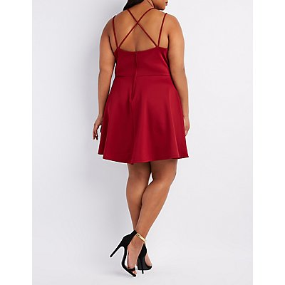 Plus Size Strappy Back Surplice Skater Dress