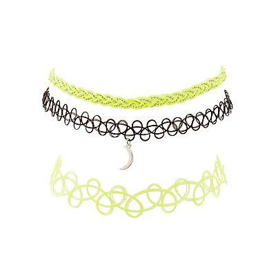Tattoo & Braided Choker Necklaces - 3 Pack