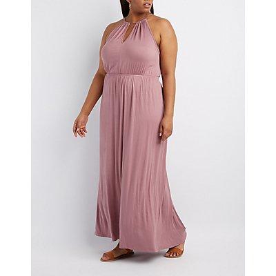 Plus Size Bib Neck Open Back Maxi Dress