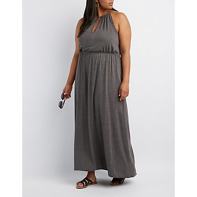 Plus Size Bib Neck Open Back Maxi Dress