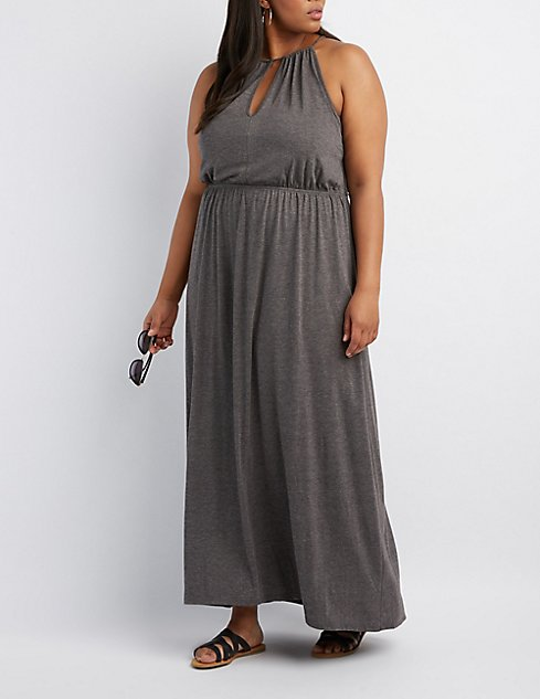 Plus Size Bib Neck Open Back Maxi Dress Charlotte Russe