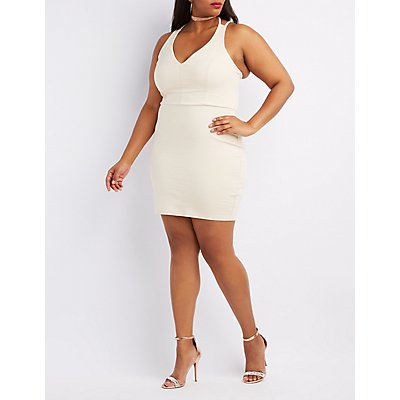Plus Size Strappy Caged Back Bodycon Dress