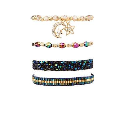 Iridescent Celestial Layering Bracelets - 4 Pack