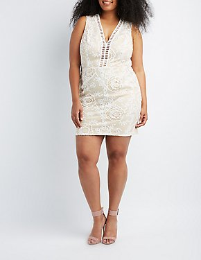 Plus Size Crochet-Trim Lace Bodycon Dress